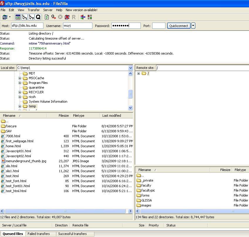 Tutorial on Using FileZilla to Transfer Files onto SLIS Web Server